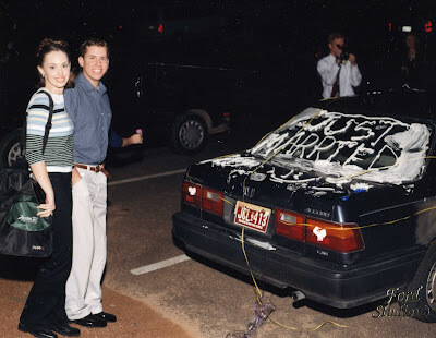 DaNelle and her husband with Honda Accord with Just Married.