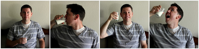 man drinking raw milk