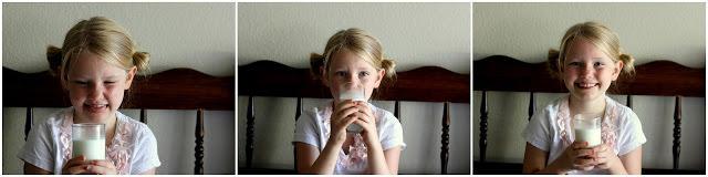 little girl sampling raw milk