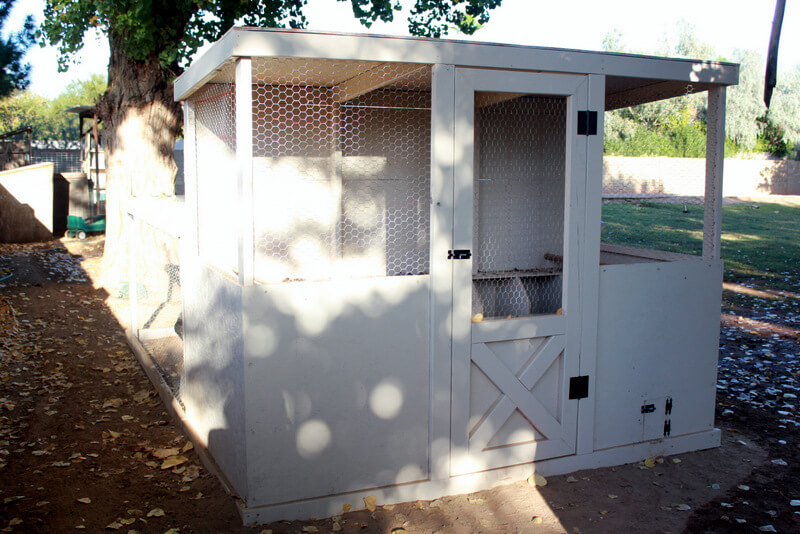 white enclosed chicken coop