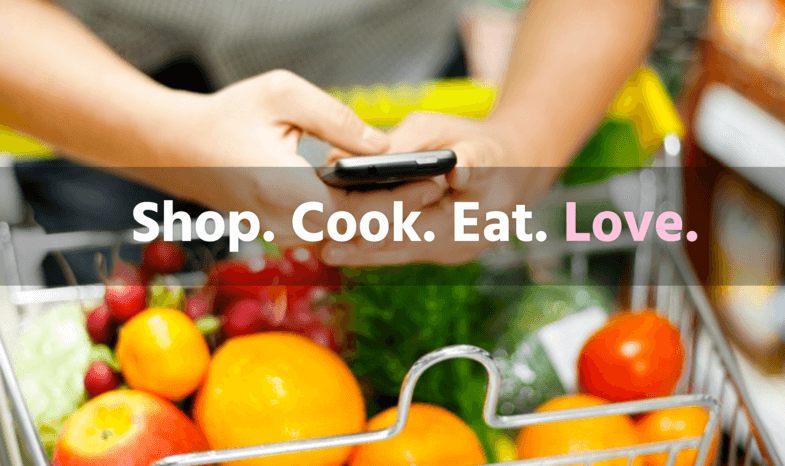 "screenshot with cell phone and cart of groceries with words ""Shop. Cook. Eat. Love."""