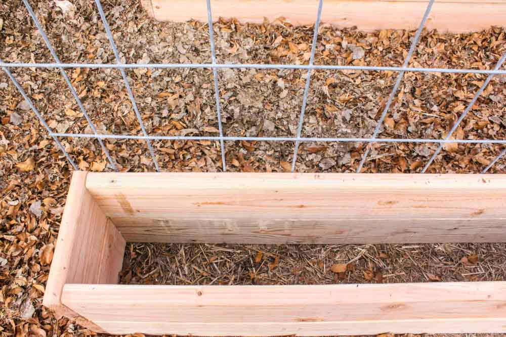 low overhead shop of a garden box by woodchips and near trellis