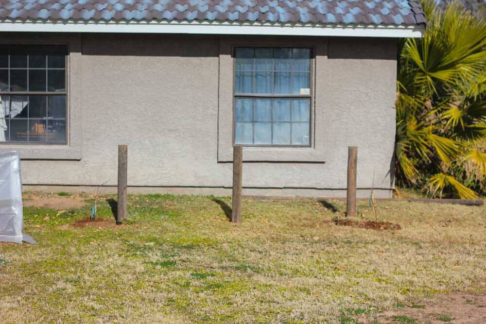 three posts standing in a backyard alongside a white house