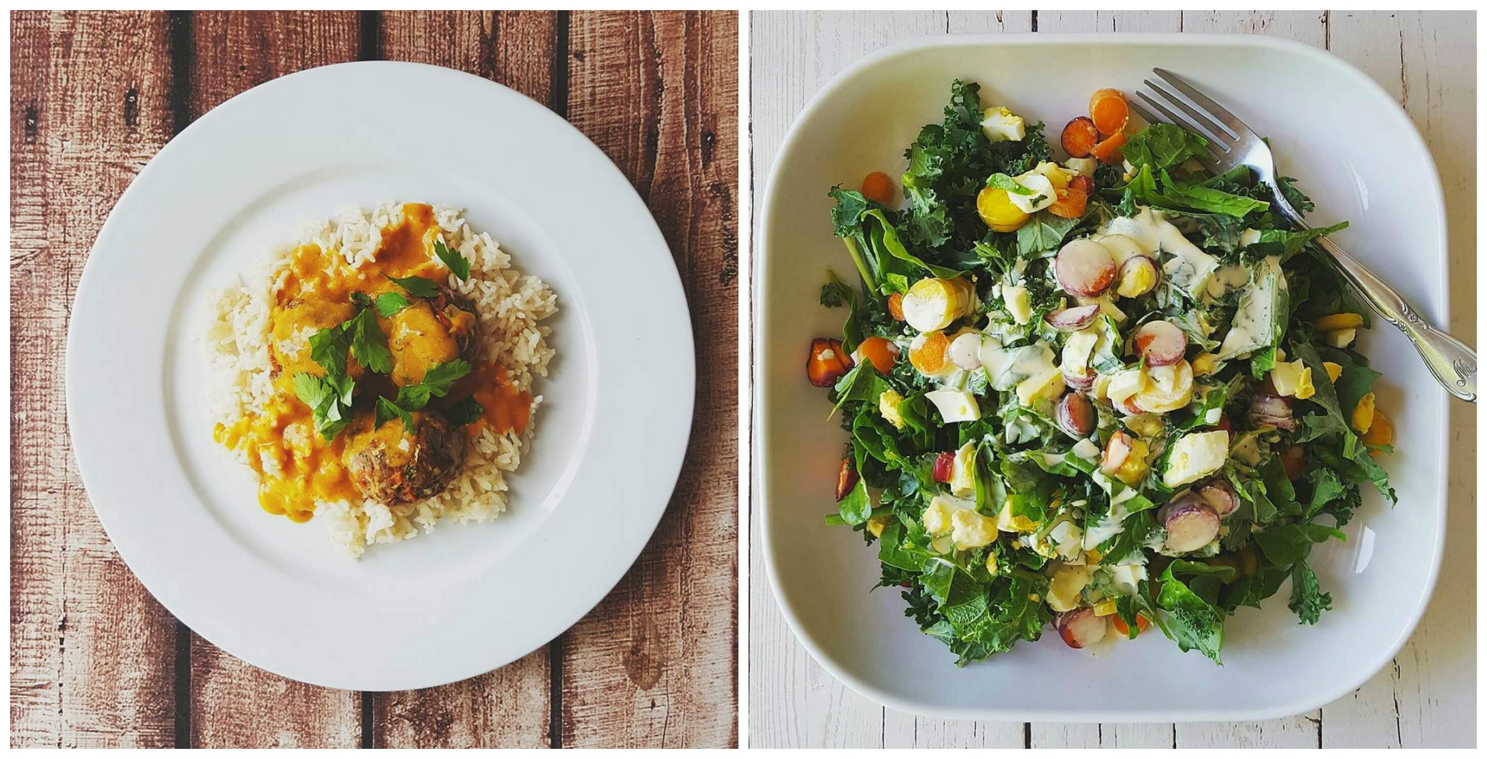 collage of two plates of plant based food
