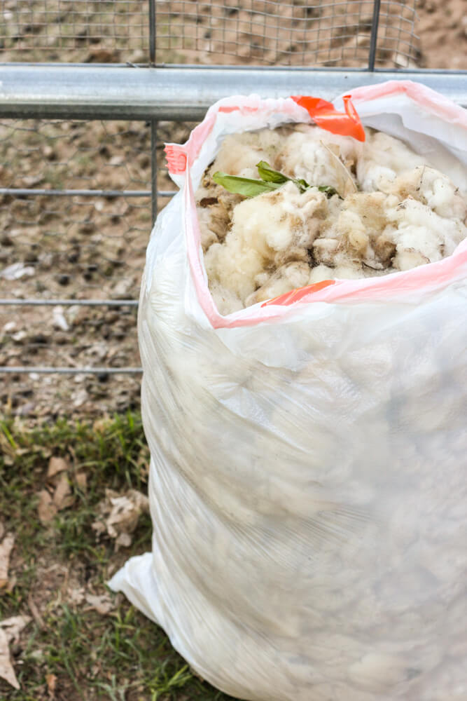 densely packed garbage bag full of wool