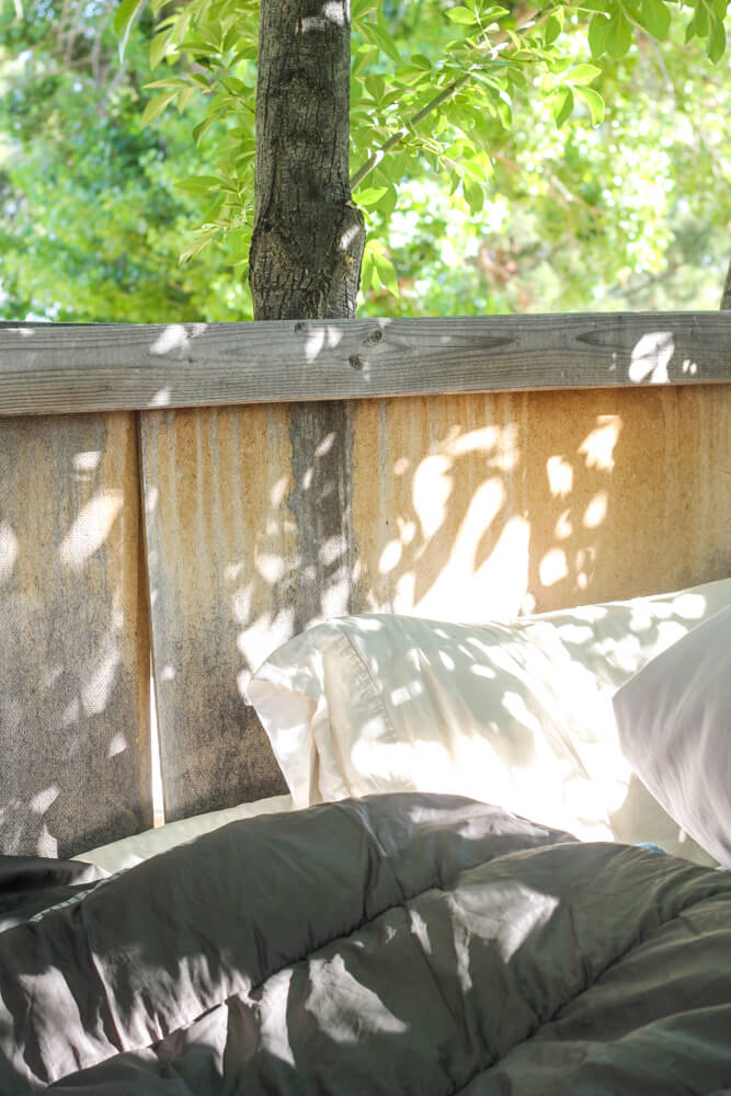 inside the sleeping space of a treehouse