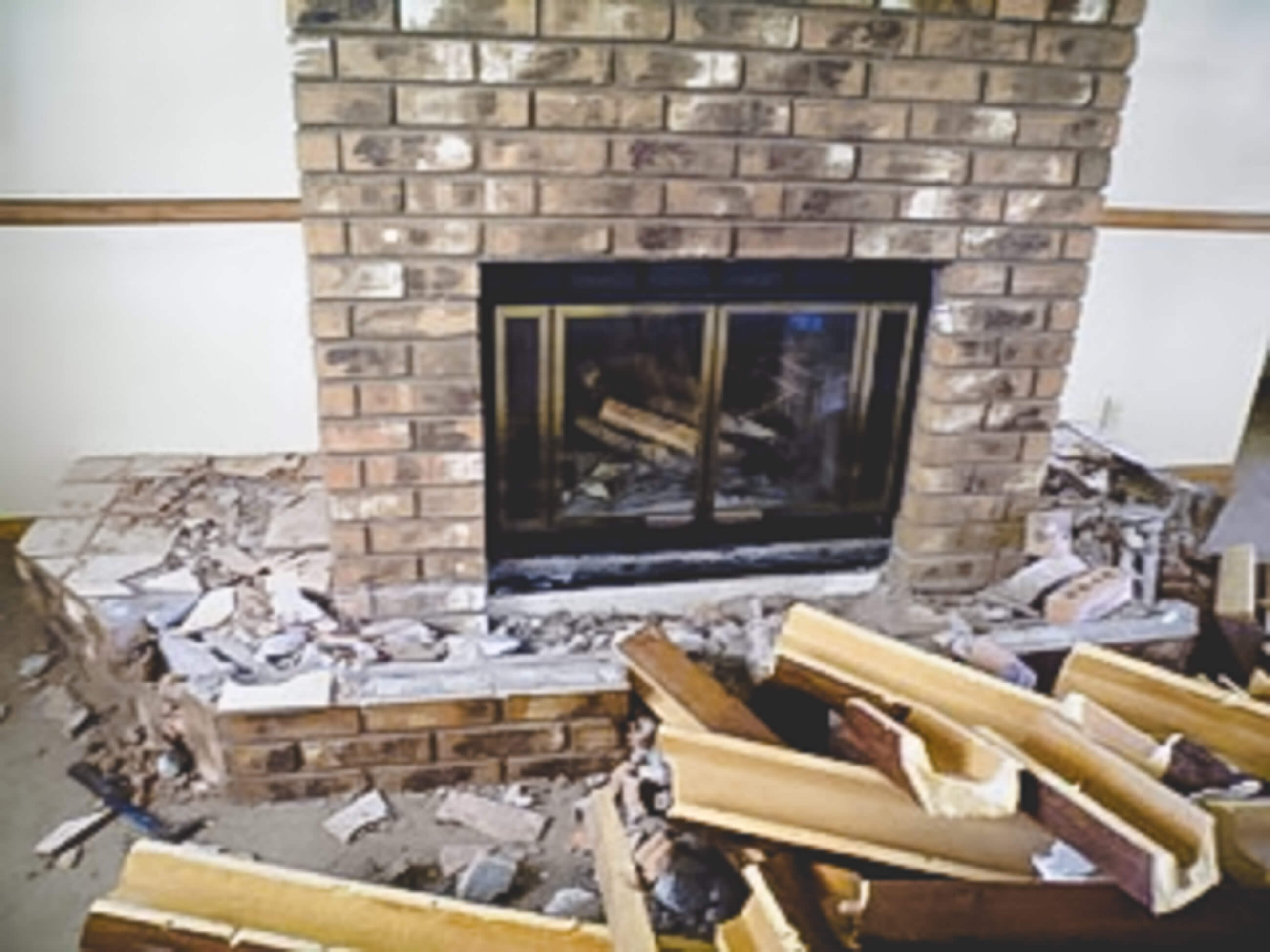Removing seat around fireplace