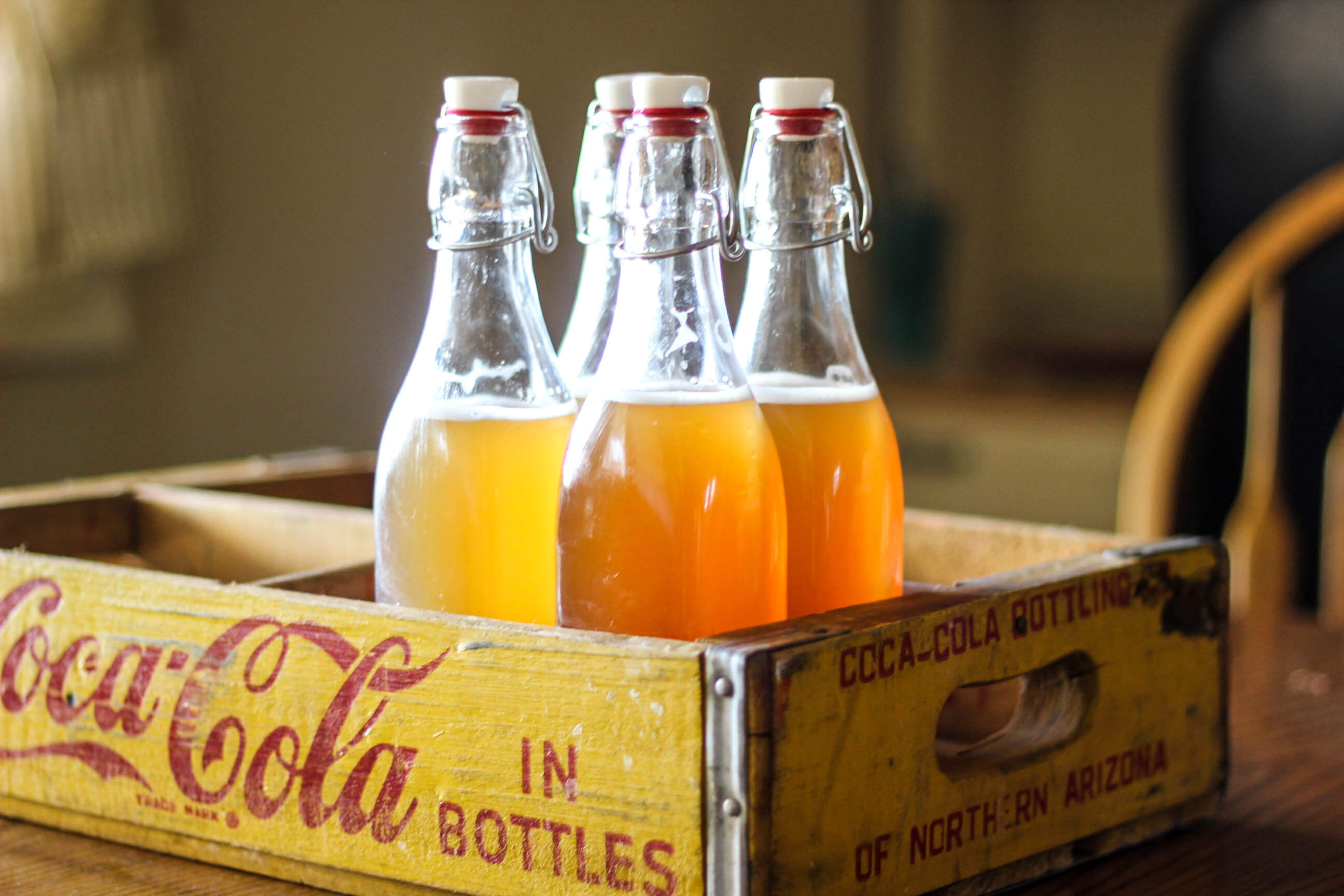 Homemade soda in coca cola crate